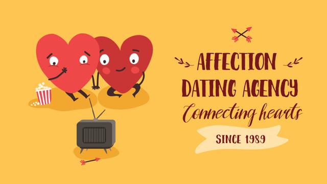 Hearts watching TV on Valentine's Day Full HD video – шаблон для дизайна