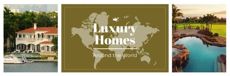Real Estate Ad Luxury Houses at Sea Coastline Twitter Modelo de Design