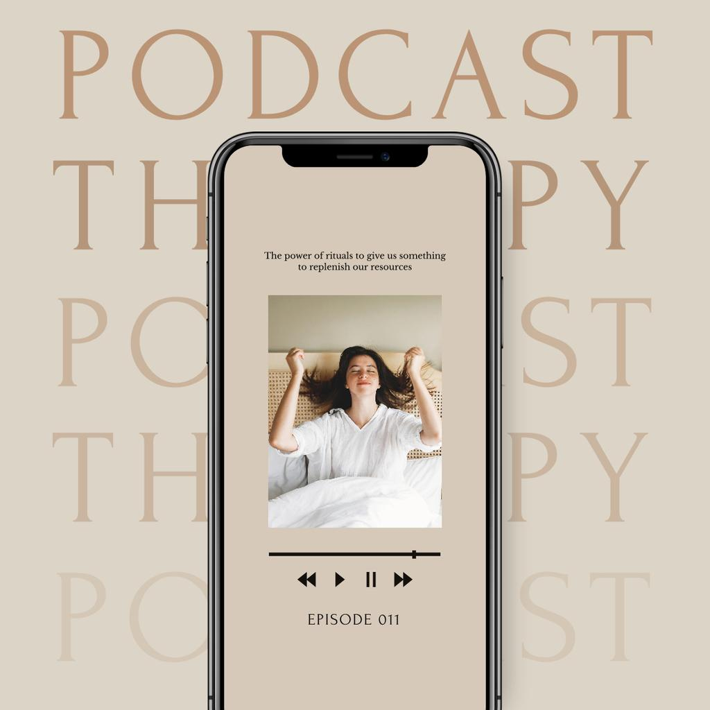Designvorlage Podcast about Mental Health Ad with Girl in Bed für Instagram