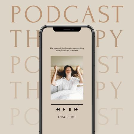 Podcast about Mental Health Ad with Girl in Bed Instagram Modelo de Design