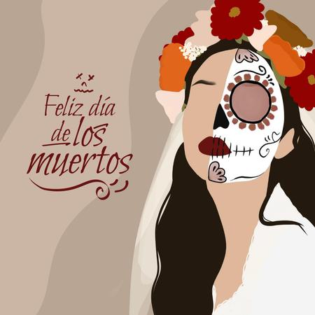 Dia de los Muertos Holiday with Woman in Carnival Outfit Instagram Design Template