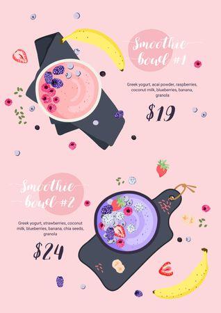 Fruit Smoothie bowls Menu – шаблон для дизайну
