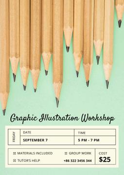 Illustration Workshop with Graphite Pencils on Blue