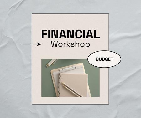 Plantilla de diseño de Financial Workshop promotion with Notebook Facebook