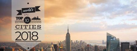 World's top cities with big city landscape Facebook cover Modelo de Design