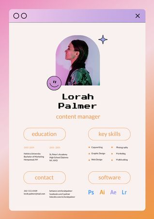 Template di design Content Manager skills and experience Resume