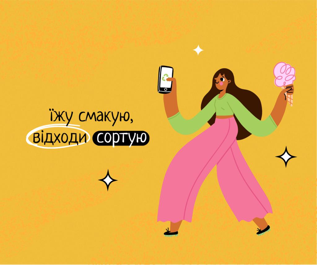 Waste Recycling Motivation with Girl holding Phone and Ice Cream Facebook – шаблон для дизайна