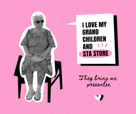 Template di design Old Lady talking about favorite Store Facebook