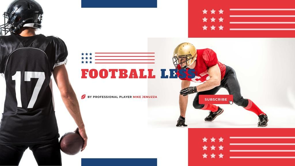 Sport Lessons with American Football Player with Ball — Modelo de projeto
