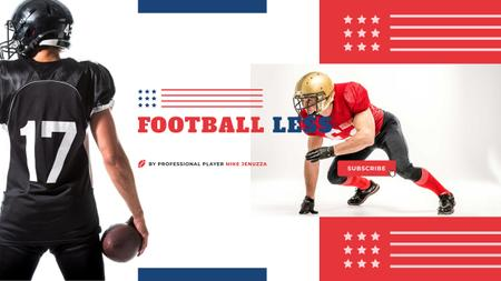 Sport Lessons with American Football Player with Ball Youtube Design Template
