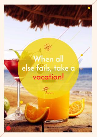Summer cocktail on tropical vacation Poster – шаблон для дизайна