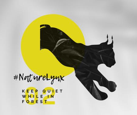 Modèle de visuel Fauna Protection with Black Lynx Silhouette - Facebook