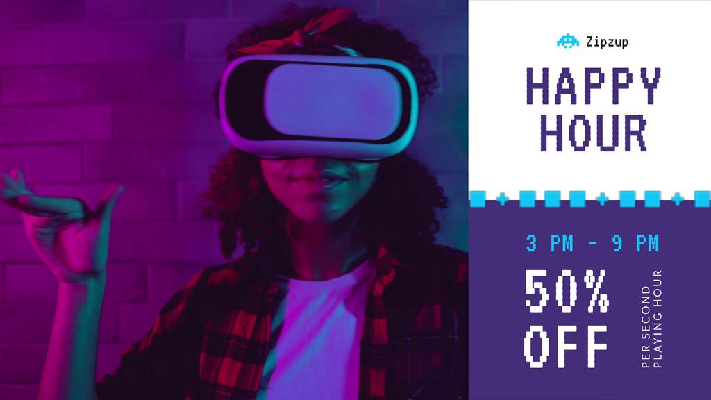Gadgets Sale Girl dancing in VR Glasses — Створити дизайн