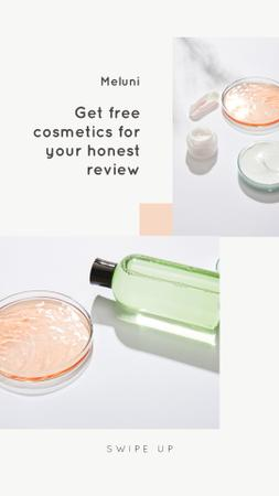 Designvorlage Free Cosmetics Offer with transparent jars für Instagram Story