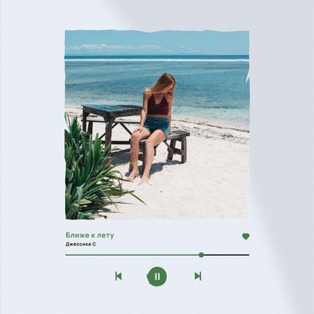 Summer Inspiration with Girl on Beautiful Beach Instagram – шаблон для дизайна