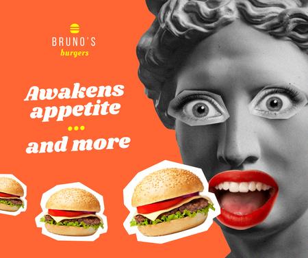 Fast Food Ad with Funny Antique Statue Facebook Modelo de Design