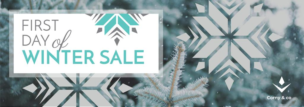 First day of Winter sale with frozen fir — Crea un design