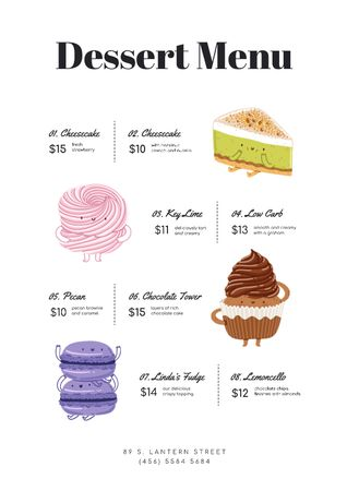 Plantilla de diseño de Desserts with funny faces Menu
