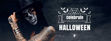 Halloween Celebration with Girl in Bright Makeup Facebook cover Modelo de Design
