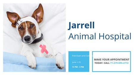 Modèle de visuel Animal Hospital Ad with Cute injured Dog - Title