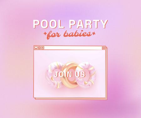 Designvorlage Pool Party for Babies Invitation with Inflatable Rings für Facebook