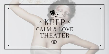 Theatre Quote with Woman Performing in White Twitter Modelo de Design