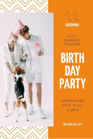 Plantilla de diseño de Birthday Party Announcement with Couple and Dog Pinterest
