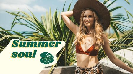 Plantilla de diseño de Summer Inspiration with Cute Girl in Swimsuit and Hat Youtube Thumbnail