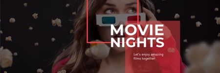 Plantilla de diseño de Movie Night Event Woman in 3d Glasses Twitter