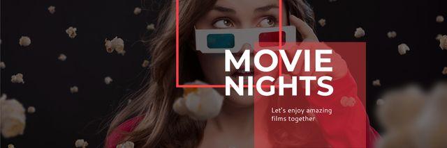 Movie Night Event Woman in 3d Glasses Twitter – шаблон для дизайна