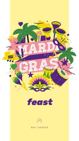 Ontwerpsjabloon van Instagram Story van Mardi Gras carnival attributes