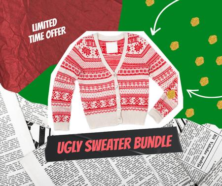 Ontwerpsjabloon van Facebook van Clothes Ad with Funny Ugly Christmas Sweater