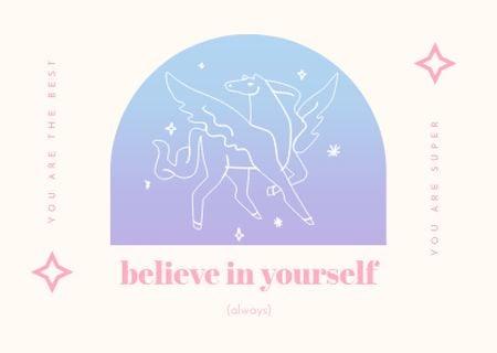 Inspirational Phrase with Pegasus Illustration Card Design Template