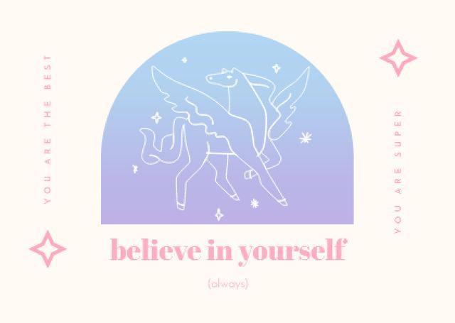 Modèle de visuel Inspirational Phrase with Pegasus Illustration - Card