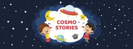 Cute Funny Kids in Space Facebook cover Design Template