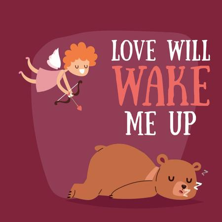 Plantilla de diseño de Valentine's Day Cupid shooting arrow in sleeping Bear Animated Post