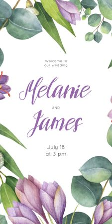 Modèle de visuel Wedding Invitation in Frame with saffron flowers - Graphic