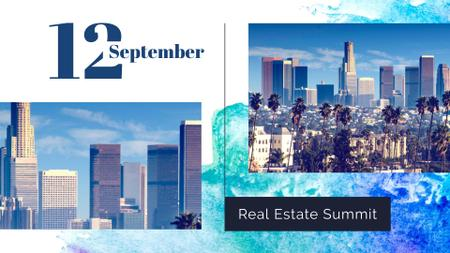 Real Estate Summit with Modern Skyscrapers FB event coverデザインテンプレート
