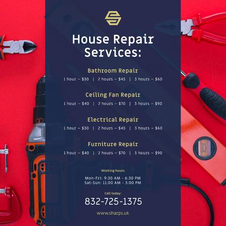 House Repair Services Ad Tools in Red Instagramデザインテンプレート