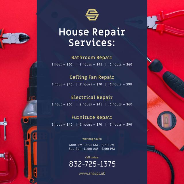 House Repair Services Ad Tools in Red Instagram Modelo de Design