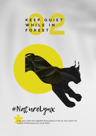 Modèle de visuel Fauna Protection with Wild Lynx Illustration - Poster