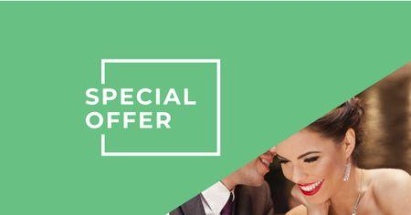 Plantilla de diseño de Special Offer Announcement with Couple in Restaurant Facebook AD