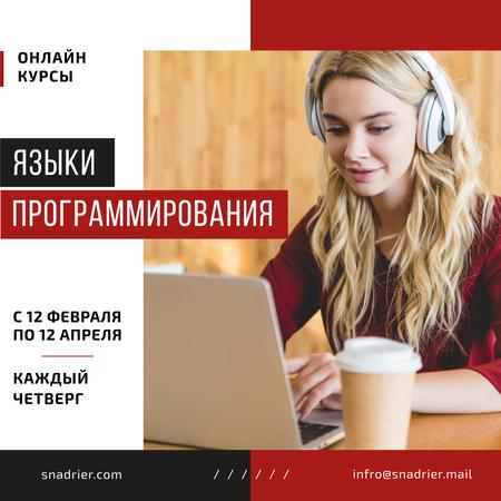 IT Courses Announcement Woman Working on Laptop Instagram AD – шаблон для дизайна