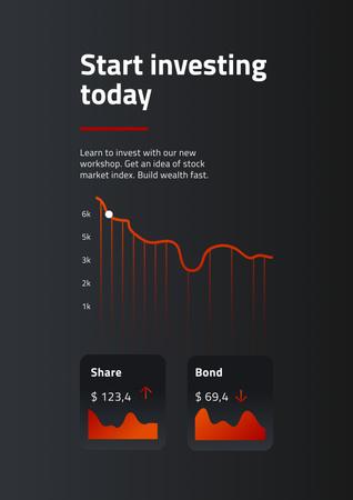 Plantilla de diseño de Chart with Investment statistics Poster