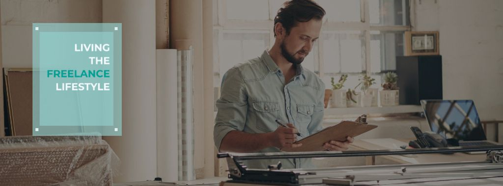 Freelance Lifestyle concept with Young man working at home —デザインを作成する