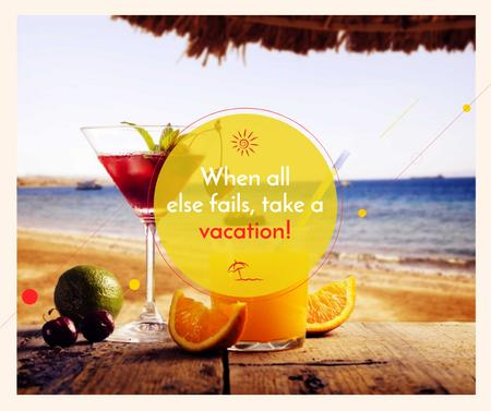 Ontwerpsjabloon van Facebook van Vacation Offer Cocktail at the Beach
