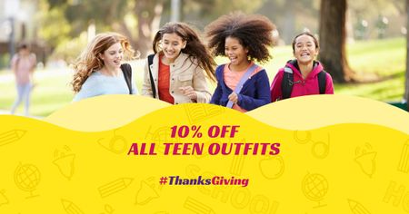 Thanksgiving Day Offer with Teenagers Facebook AD Modelo de Design