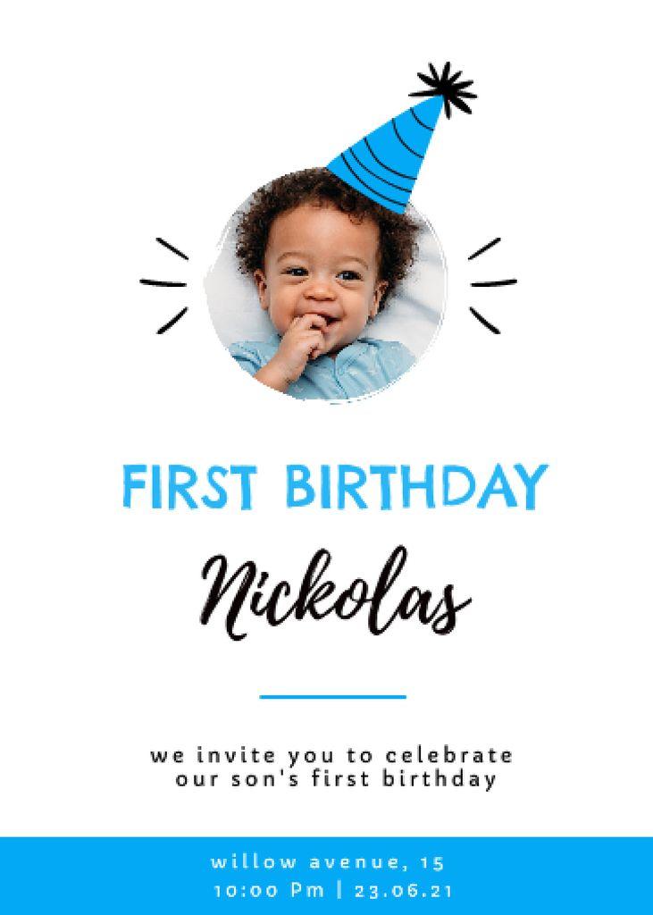 Plantilla de diseño de First Birthday of Little Boy Celebration Announcement Invitation