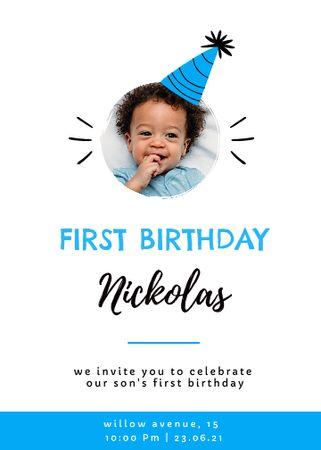 First Birthday of Little Boy Celebration Announcement Invitation – шаблон для дизайну