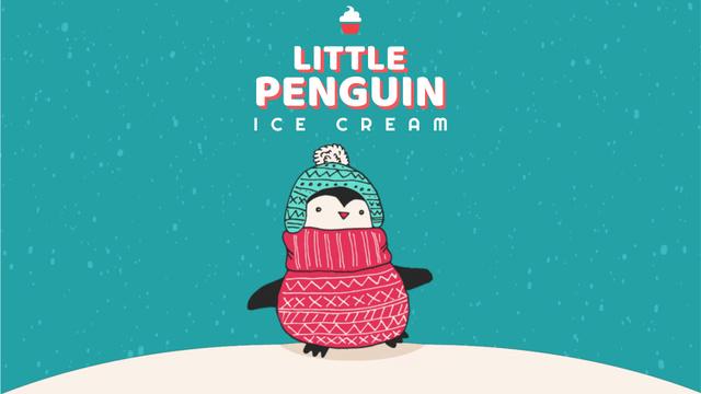 Plantilla de diseño de Cute Winter Penguin in Hat Full HD video